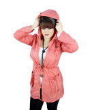Teenage girl in raincoat Royalty Free Stock Photo