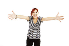Teenage girl raised up arms hands at you Royalty Free Stock Photo