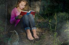 Teenage girl reading in foggy woods. Caucasian teenage girl reading book with rabbit in foggy forest Stock Photos
