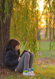 Teenage girl reads the book under the willow tree Stock Photo