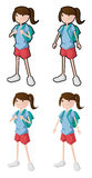 Teenage girl ready for going to school. Available in vector format, fully editable Royalty Free Stock Images
