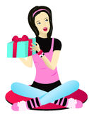Teenage girl receiving present, Vector Stock Image