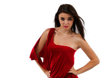 Teenage girl in red Stock Images