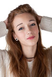 Teenage girl with red hair Stock Images