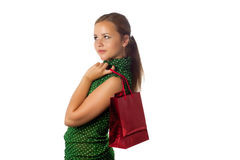 Teenage girl with red shopping bag Stock Image