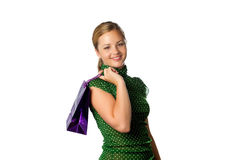 Teenage girl with red shopping bag Stock Photography