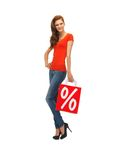 Teenage girl in red t-shirt with shopping bag Stock Images