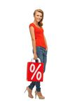 Teenage girl in red t-shirt with shopping bag Royalty Free Stock Photo