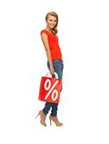 Teenage girl in red t-shirt with shopping bag Stock Photos
