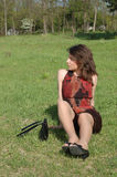 Teenage girl relaxing in field royalty free stock images