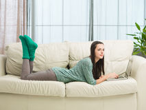 Teenage girl relaxing at home Royalty Free Stock Photos