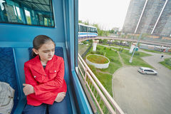 Teenage-girl rides in carriage of Moscow monorail system Royalty Free Stock Photo