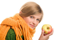 Teenage girl with ripe apple Royalty Free Stock Photo