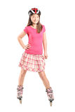 Teenage girl on roller skates Royalty Free Stock Photos