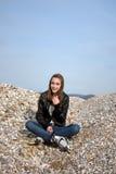Teenage girl with rollerblades Stock Image