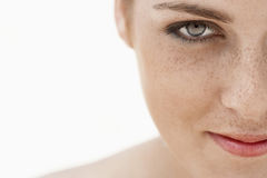 Teenage Girl's Face With Freckles Stock Image