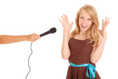The teenage girl`s interview Royalty Free Stock Images
