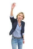 Teenage girl saluting Stock Photo