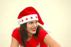 Teenage girl with Santa hat royalty free stock photos