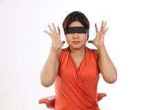 Teenage girl  saying no gesture. Teenage girl with black band saying no gesture Stock Photo