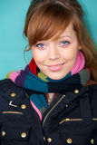 Teenage Girl with Scarf. Teenage girl portrait, exterior in urban location royalty free stock photos