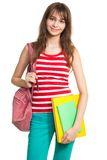 Teenage girl after school. Holding backpack and books royalty free stock photos