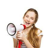 Teenage girl screaming in megaphone Stock Photo