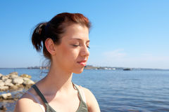 Teenage Girl by Sea Royalty Free Stock Photos
