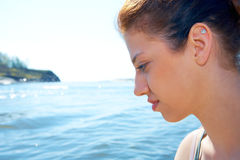 Teenage Girl by Sea Royalty Free Stock Image