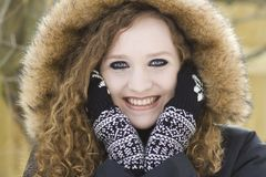 Teenage girl senior portrait in winter clothes Royalty Free Stock Image