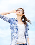Teenage girl in shades outside. Summer holidays and teenage concept - teenage girl in shades outside Royalty Free Stock Photos