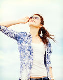 Teenage girl in shades outside Royalty Free Stock Photo