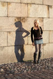 Teenage Girl Shadow Stock Photo