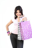 Teenage girl  with shopping bags Stock Photos