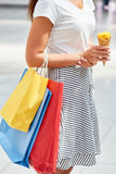 Teenage Girl with Shopping Bags royalty free stock photos
