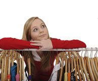 Teenage girl shopping for clothes Stock Photo