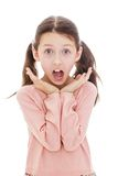 Teenage girl shouts his mouth wide open , close-up Stock Images