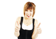 Teenage girl show thumbs up gesture Stock Photography