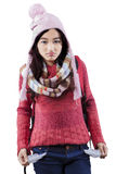 Teenage girl showing empty pockets Royalty Free Stock Images