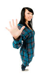 Teenage girl showing five fingers Stock Images
