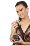 Teenage girl showing her gold trophy. Beautiful Teenage girl showing her gold trophy Royalty Free Stock Photography