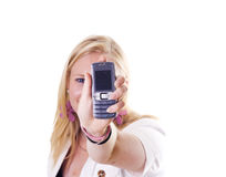 Teenage girl showing her mobile Royalty Free Stock Photos