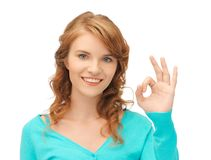 Teenage girl showing ok sign Royalty Free Stock Photography
