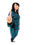 Teenage girl showing one finger Royalty Free Stock Photography