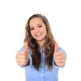 Teenage girl showing thumbs up Royalty Free Stock Photography