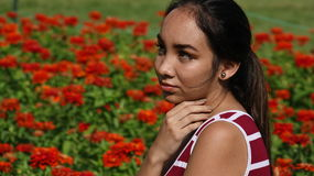 Teenage Girl And Shyness. A stock photo of a teen girl Stock Photography
