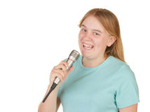 Teenage girl singing Royalty Free Stock Photos