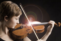 Teenage Girl and Singing Strings Violin Royalty Free Stock Photo