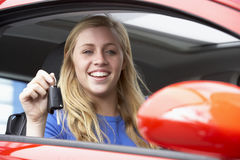 Teenage Girl Sitting In Car, Holding Car Keys Royalty Free Stock Photography