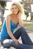 Teenage Girl Sitting On Steps Stock Photos